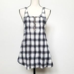 Free People Anthro plaid crochet sleeveless top